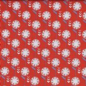 Fabric Freedom Retro Floral - 4636 - White & Lilac Floral on Red  - FF136-2 - Cotton Fabric